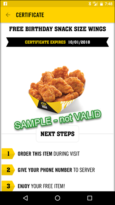 image relating to Buffalo Wild Wings Printable Coupons identified as BWW Birthday: Sign up for Free of charge Wings