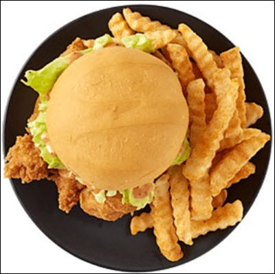 A picture of a Zaxby's Chicken Finger Sandwich and Crinkle Fries.