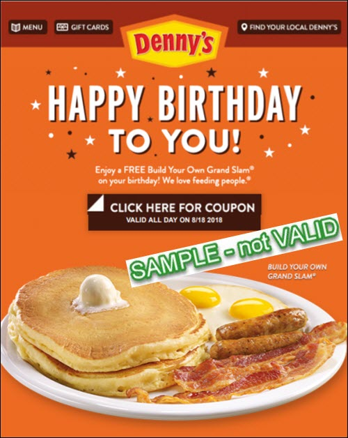 Dennys free birthday grand slam