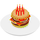 An artist's drawing of a festive birthday burger with lettuce, tomatoes, cheese and onions on a sesame seed bun.               There are 7 red burning candles on top.               Click on the image to go to the article Top 10 Free Birthday Meals.