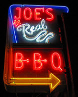 Joe's Real BBQ sign.