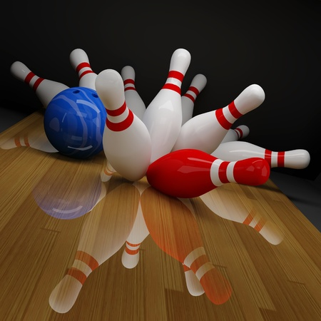 Blue bowling ball knocking down 10 white and red pins.
